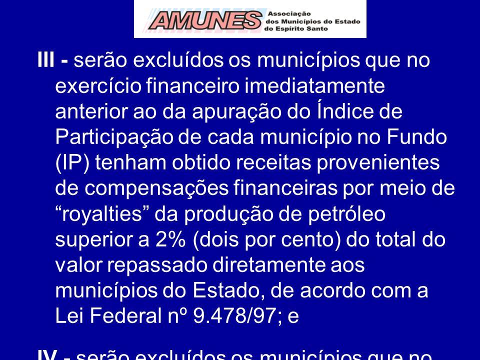 III - serão excluídos os municípios que no exercício financeiro imediatamente anterior ao da apuração do Índice de Participação de cada município no F