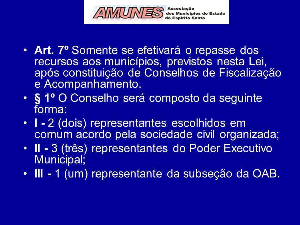 Art. 7º Somente se efetivará o repasse dos recursos aos municípios, previstos nesta Lei, após constituição de Conselhos de Fiscalização e Acompanhamen