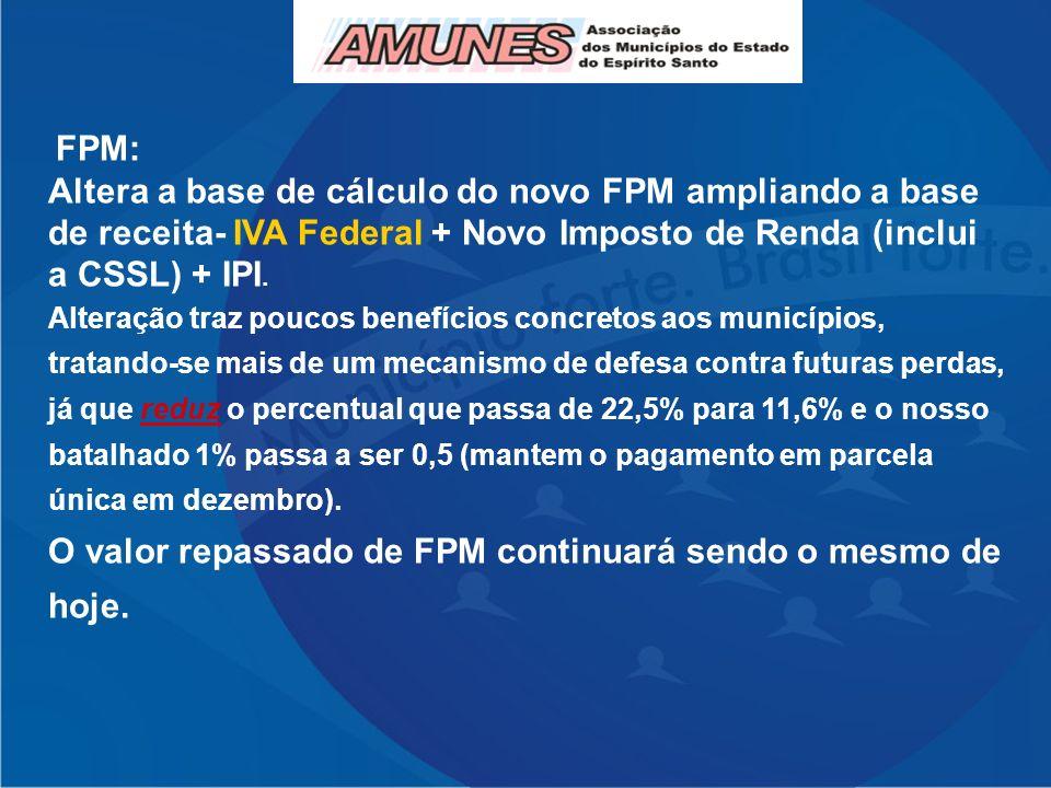 FPM: Altera a base de cálculo do novo FPM ampliando a base de receita- IVA Federal + Novo Imposto de Renda (inclui a CSSL) + IPI. Alteração traz pouco