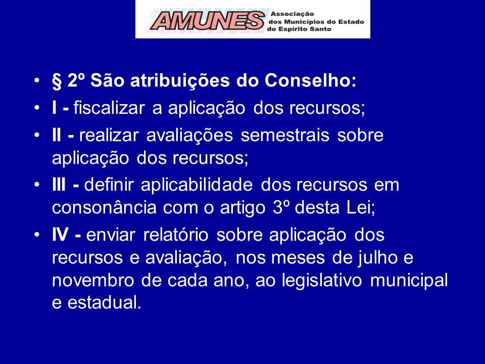 § 2º São atribuições do Conselho: I - fiscalizar a aplicação dos recursos; II - realizar avaliações semestrais sobre aplicação dos recursos; III - def