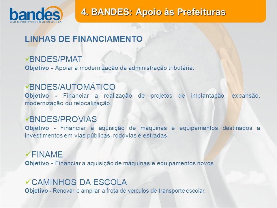4. BANDES: Apoio às Prefeituras LINHAS DE FINANCIAMENTO BNDES/PMAT Objetivo - Apoiar a modernização da administração tributária. BNDES/AUTOMÁTICO Obje