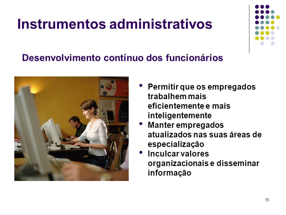 15 Instrumentos administrativos Permitir que os empregados trabalhem mais eficientemente e mais inteligentemente Manter empregados atualizados nas sua