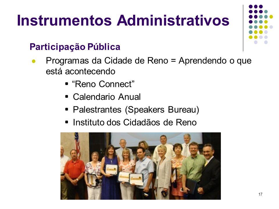 17 Instrumentos Administrativos Programas da Cidade de Reno = Aprendendo o que está acontecendo Reno Connect Calendario Anual Palestrantes (Speakers B