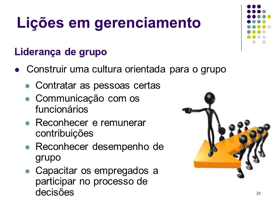 29 Lições em gerenciamento Contratar as pessoas certas Communicação com os funcionários Reconhecer e remunerar contribuições Reconhecer desempenho de