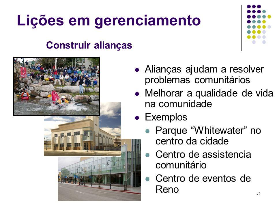 31 Lições em gerenciamento Construir alianças Alianças ajudam a resolver problemas comunitários Melhorar a qualidade de vida na comunidade Exemplos Pa