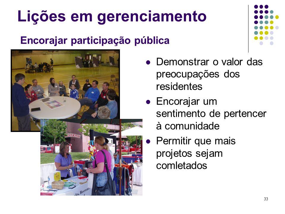 33 Lições em gerenciamento Demonstrar o valor das preocupações dos residentes Encorajar um sentimento de pertencer à comunidade Permitir que mais proj