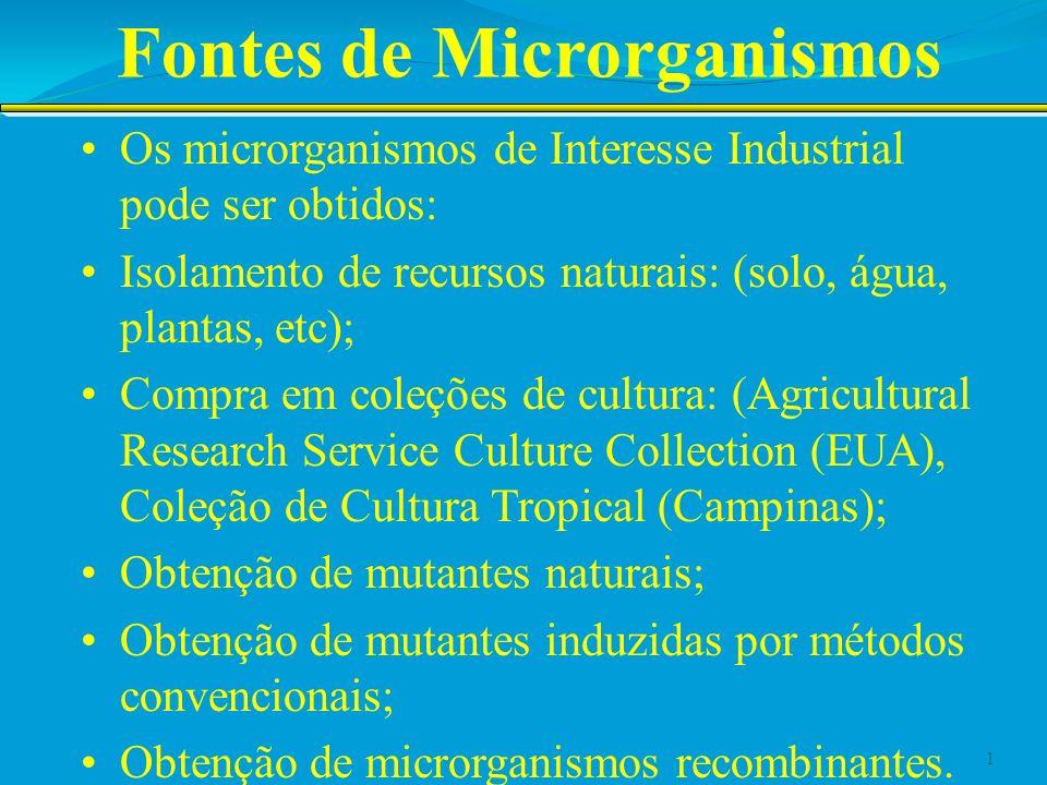 Fontes de Microrganismos Os microrganismos de Interesse Industrial pode ser obtidos: Isolamento de recursos naturais: (solo, água, plantas, etc); Comp