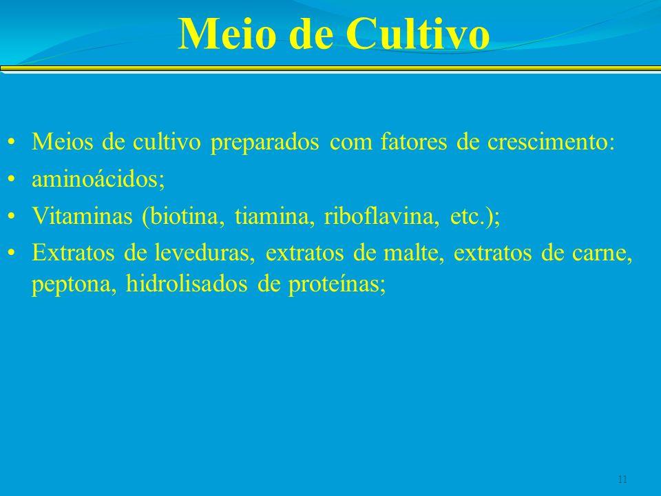 Meio de Cultivo Meios de cultivo preparados com fatores de crescimento: aminoácidos; Vitaminas (biotina, tiamina, riboflavina, etc.); Extratos de leve