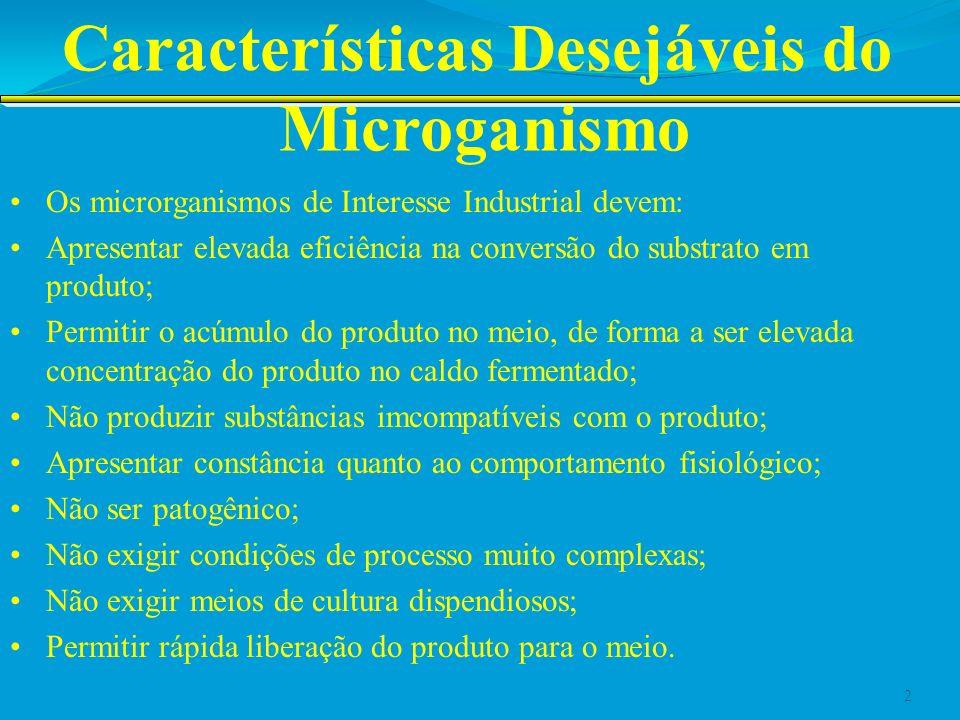 Características Desejáveis do Microganismo Exemplo da Fermentação Alcoólica: C 6 H 12 O 6 2C 2 H 5 OH + 2CO 2 Fator estequiométrico teórico=0,511 Cada grama de glicose é convertida em 0,511g de etanol Saccharomyces cerevisiae, alcança 90% deste rendimento, enquanto outros microrganimos produzem etanol, mas com rendimentos muito inferiores; 3