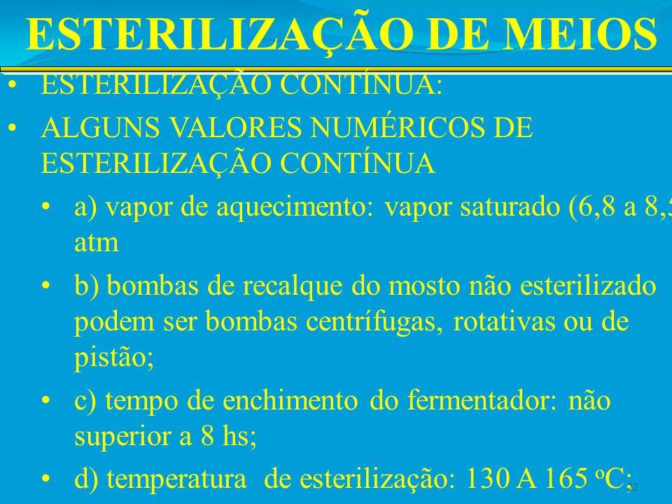ESTERILIZAÇÃO DE MEIOS ESTERILIZAÇÃO CONTÍNUA: ALGUNS VALORES NUMÉRICOS DE ESTERILIZAÇÃO CONTÍNUA a) vapor de aquecimento: vapor saturado (6,8 a 8,5 a