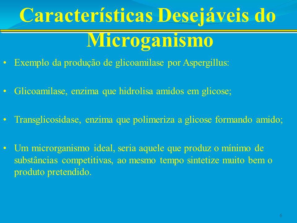 Características Desejáveis do Microganismo Exemplo da produção de glicoamilase por Aspergillus: Glicoamilase, enzima que hidrolisa amidos em glicose;