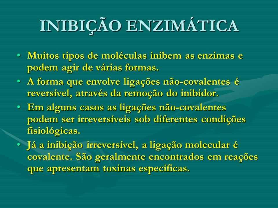 INIBIÇÃO ENZIMÁTICA Muitos tipos de moléculas inibem as enzimas e podem agir de várias formas.Muitos tipos de moléculas inibem as enzimas e podem agir