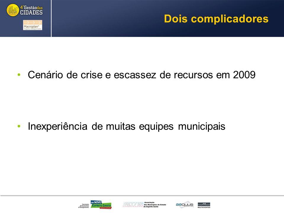 Dois complicadores Cenário de crise e escassez de recursos em 2009 Inexperiência de muitas equipes municipais