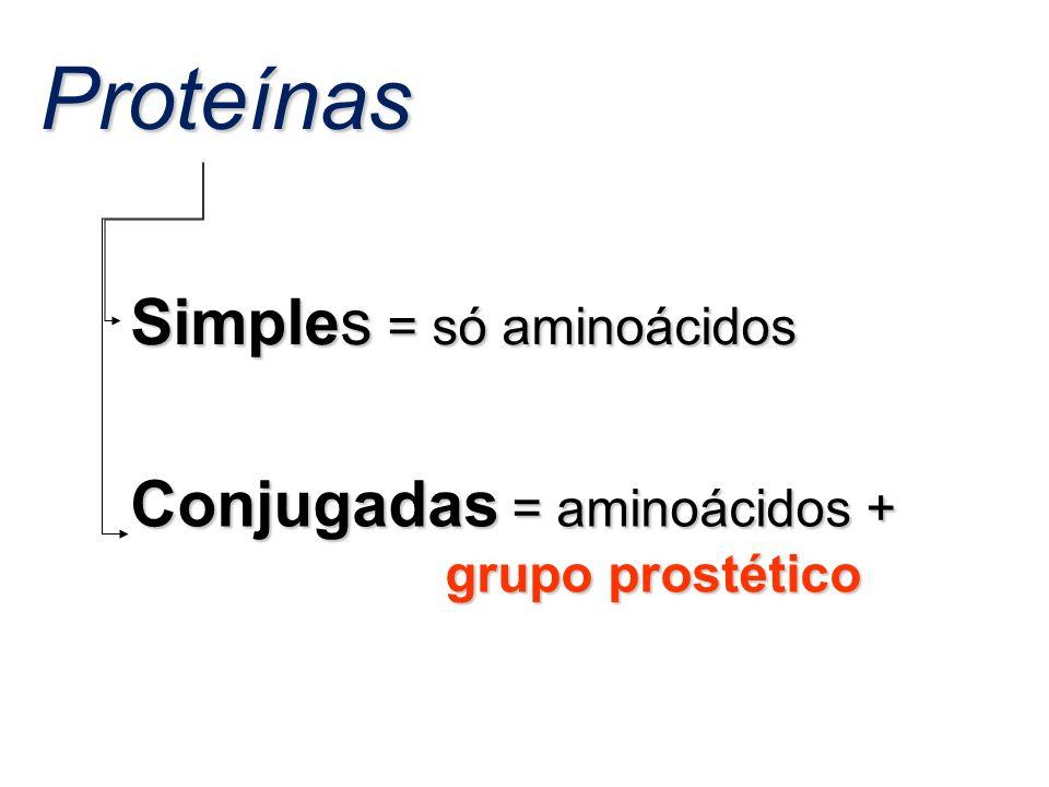 Proteínas Simples = só aminoácidos Conjugadas = aminoácidos + grupo prostético