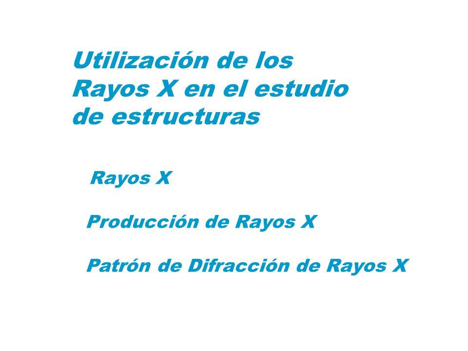 Utilización de los Rayos X en el estudio de estructuras Rayos X Producción de Rayos X Patrón de Difracción de Rayos X