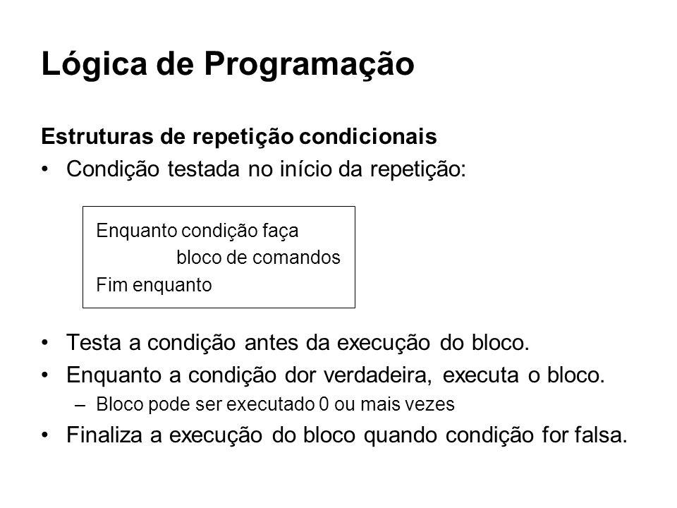 Lógica de Programação Estruturas de repetição condicionais Condição testada no início da repetição: Enquanto condição faça bloco de comandos Fim enqua