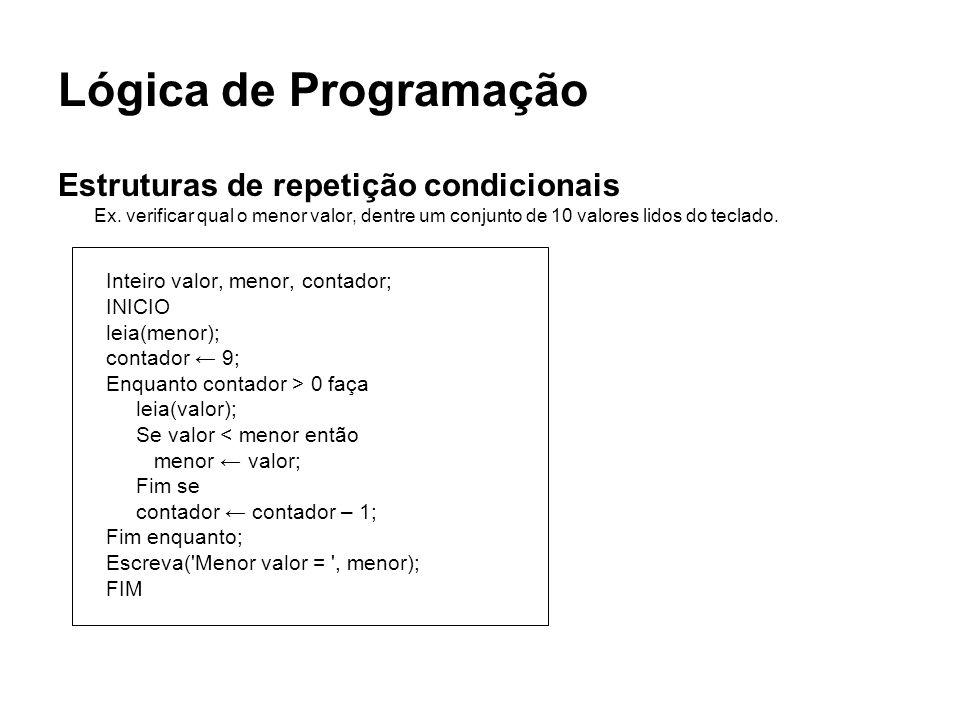 Lógica de Programação Estruturas de repetição condicionais Ex. verificar qual o menor valor, dentre um conjunto de 10 valores lidos do teclado. Inteir