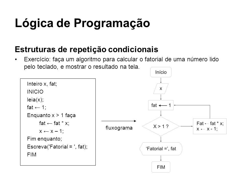 Lógica de Programação Estruturas de repetição condicionais Exercício: faça um algoritmo para calcular o fatorial de uma número lido pelo teclado, e mo