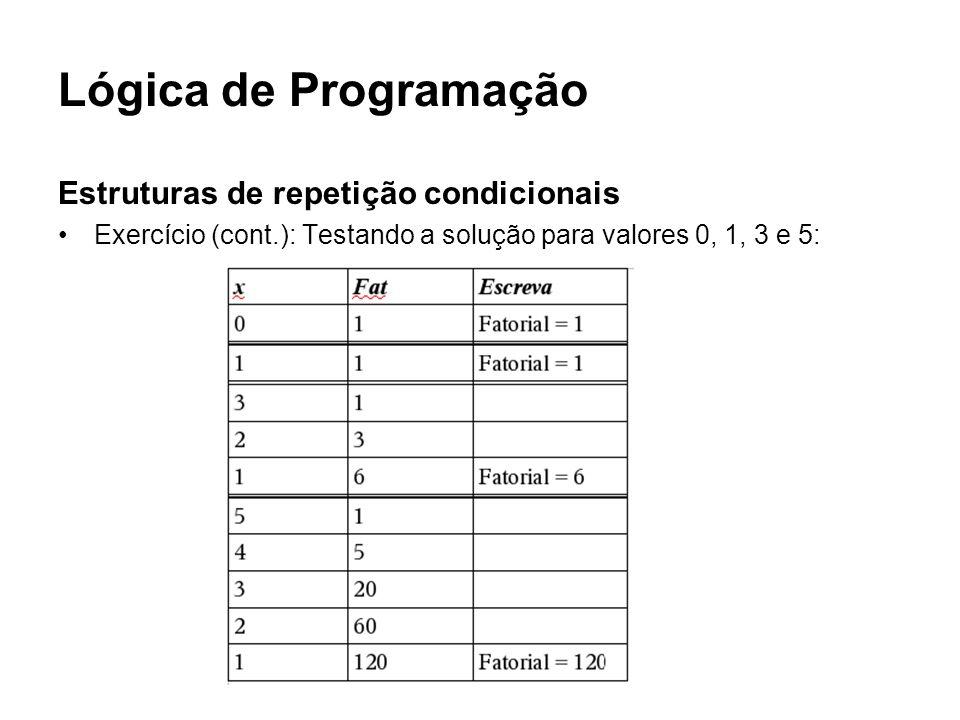 Lógica de Programação Estruturas de repetição condicionais Exercício (cont.): Testando a solução para valores 0, 1, 3 e 5: