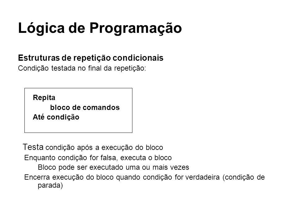 Lógica de Programação Estruturas de repetição condicionais Condição testada no final da repetição: Repita bloco de comandos Até condição Testa condiçã