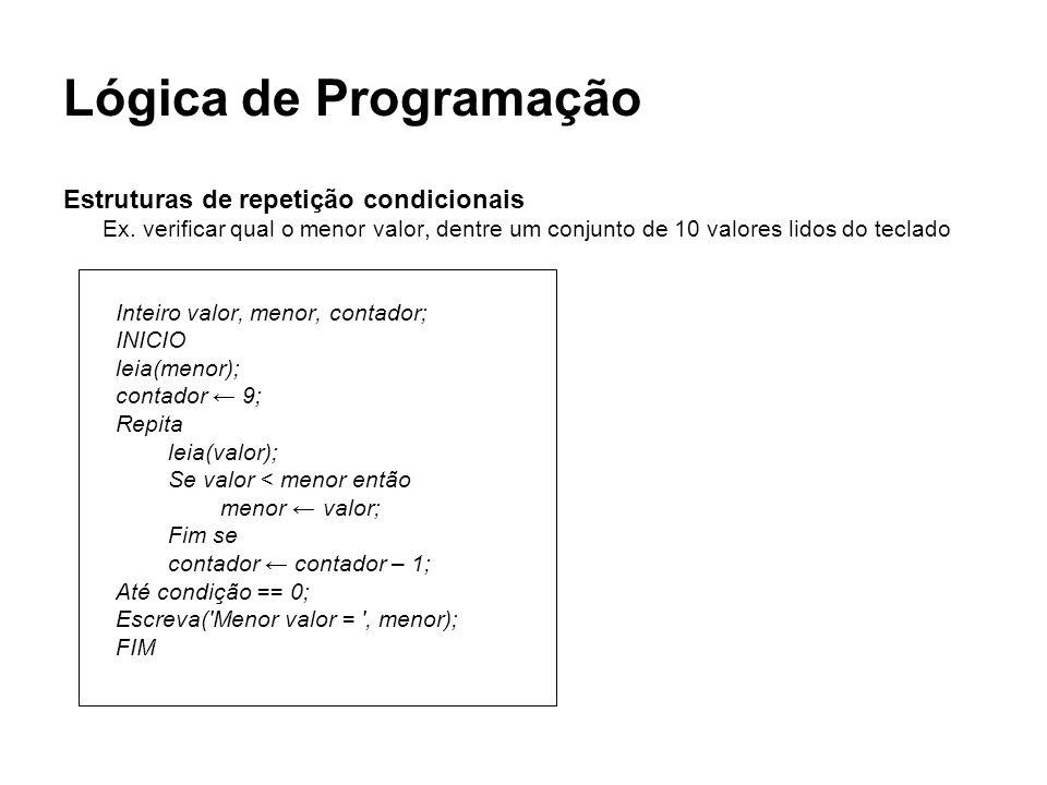 Lógica de Programação Estruturas de repetição condicionais Ex. verificar qual o menor valor, dentre um conjunto de 10 valores lidos do teclado Inteiro
