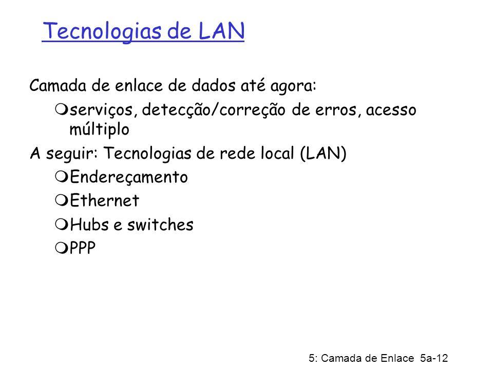 5: Camada de Enlace 5a-12 Tecnologias de LAN Camada de enlace de dados até agora: serviços, detecção/correção de erros, acesso múltiplo A seguir: Tecnologias de rede local (LAN) Endereçamento Ethernet Hubs e switches PPP