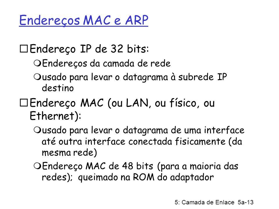5: Camada de Enlace 5a-13 Endereços MAC e ARP Endereço IP de 32 bits: Endereços da camada de rede usado para levar o datagrama à subrede IP destino Endereço MAC (ou LAN, ou físico, ou Ethernet): usado para levar o datagrama de uma interface até outra interface conectada fisicamente (da mesma rede) Endereço MAC de 48 bits (para a maioria das redes); queimado na ROM do adaptador