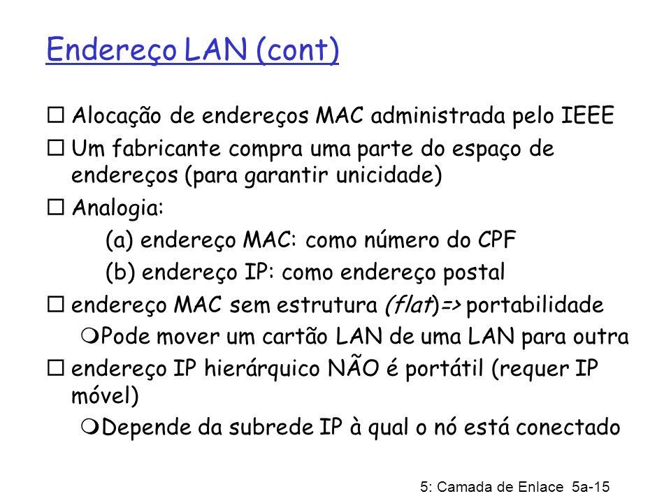 5: Camada de Enlace 5a-15 Endereço LAN (cont) Alocação de endereços MAC administrada pelo IEEE Um fabricante compra uma parte do espaço de endereços (para garantir unicidade) Analogia: (a) endereço MAC: como número do CPF (b) endereço IP: como endereço postal endereço MAC sem estrutura (flat)=> portabilidade Pode mover um cartão LAN de uma LAN para outra endereço IP hierárquico NÃO é portátil (requer IP móvel) Depende da subrede IP à qual o nó está conectado