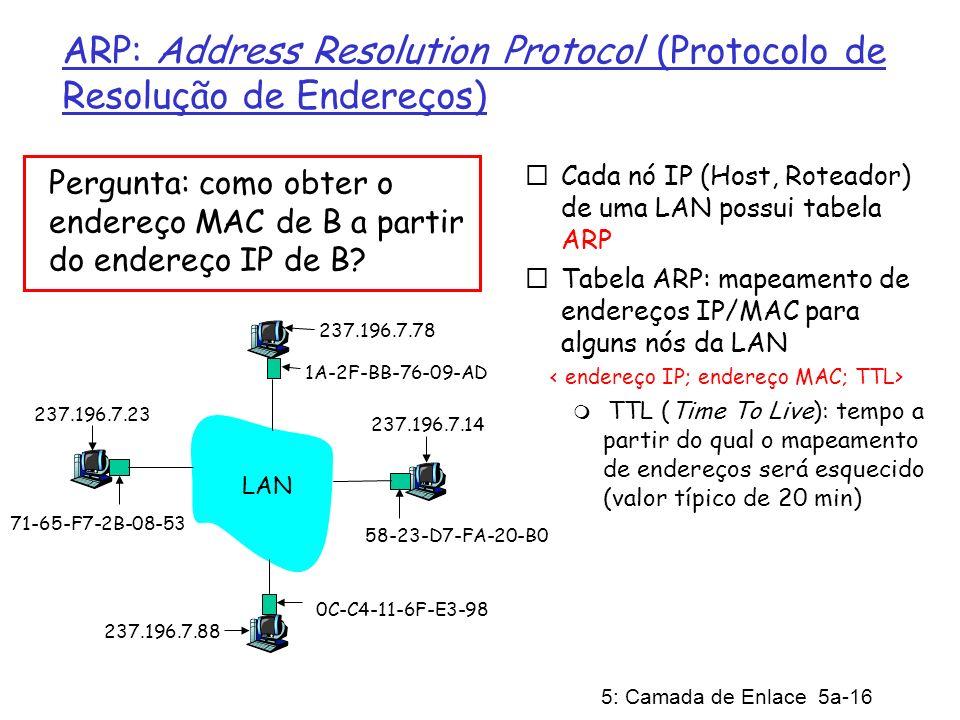 5: Camada de Enlace 5a-16 ARP: Address Resolution Protocol (Protocolo de Resolução de Endereços) Cada nó IP (Host, Roteador) de uma LAN possui tabela ARP Tabela ARP: mapeamento de endereços IP/MAC para alguns nós da LAN TTL (Time To Live): tempo a partir do qual o mapeamento de endereços será esquecido (valor típico de 20 min) Pergunta: como obter o endereço MAC de B a partir do endereço IP de B.