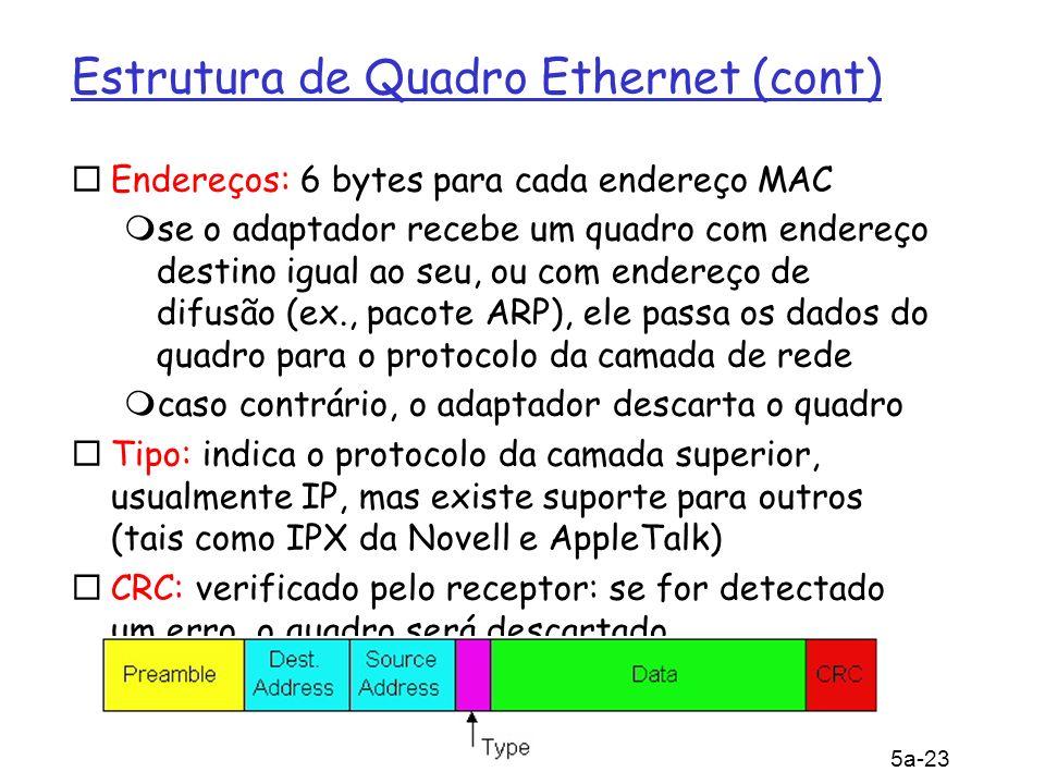 5: Camada de Enlace 5a-23 Estrutura de Quadro Ethernet (cont) Endereços: 6 bytes para cada endereço MAC se o adaptador recebe um quadro com endereço destino igual ao seu, ou com endereço de difusão (ex., pacote ARP), ele passa os dados do quadro para o protocolo da camada de rede caso contrário, o adaptador descarta o quadro Tipo: indica o protocolo da camada superior, usualmente IP, mas existe suporte para outros (tais como IPX da Novell e AppleTalk) CRC: verificado pelo receptor: se for detectado um erro, o quadro será descartado