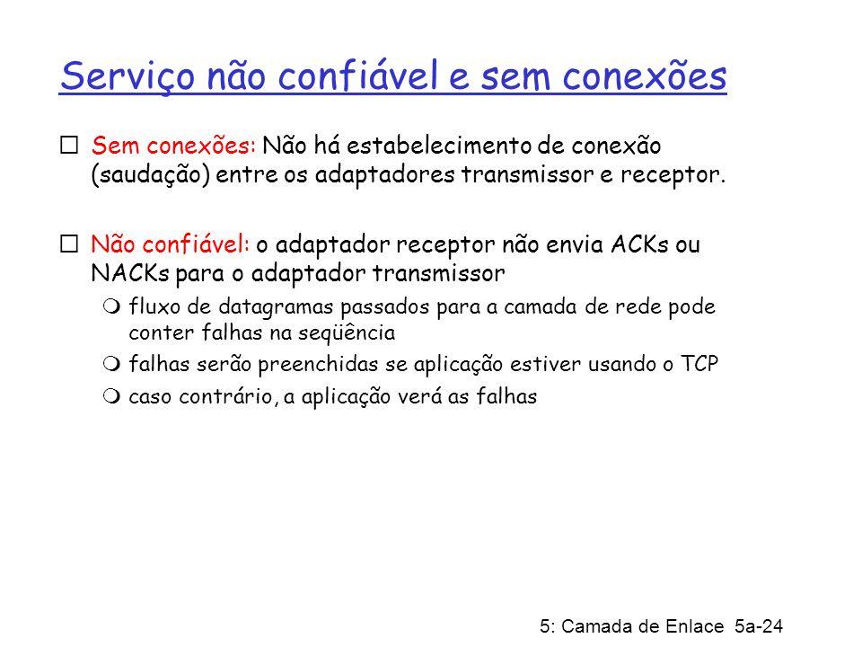 5: Camada de Enlace 5a-24 Serviço não confiável e sem conexões Sem conexões: Não há estabelecimento de conexão (saudação) entre os adaptadores transmissor e receptor.