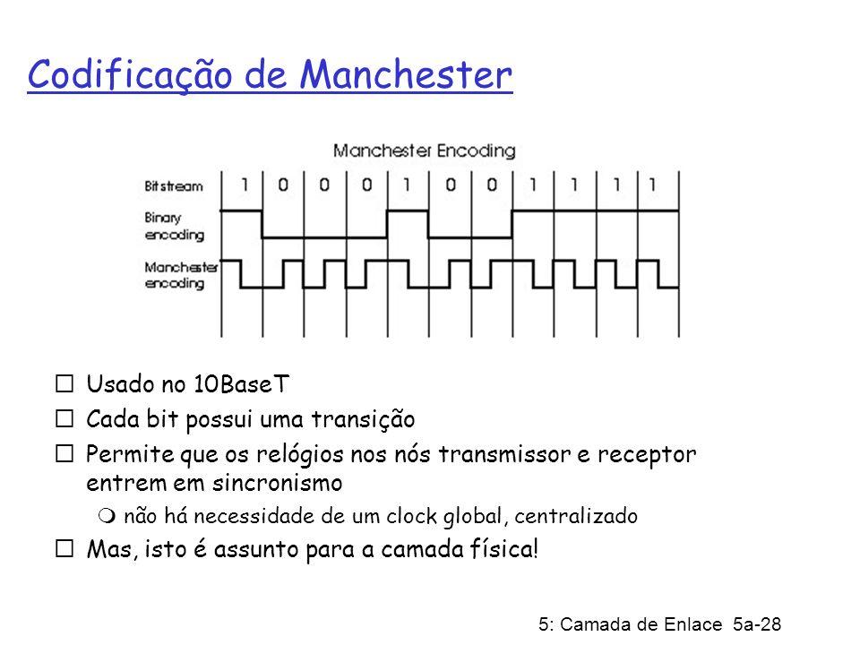 5: Camada de Enlace 5a-28 Codificação de Manchester Usado no 10BaseT Cada bit possui uma transição Permite que os relógios nos nós transmissor e receptor entrem em sincronismo não há necessidade de um clock global, centralizado Mas, isto é assunto para a camada física!