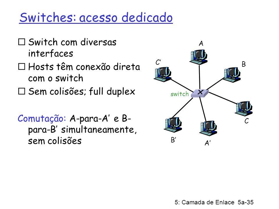 5: Camada de Enlace 5a-35 Switches: acesso dedicado Switch com diversas interfaces Hosts têm conexão direta com o switch Sem colisões; full duplex Comutação: A-para-A e B- para-B simultaneamente, sem colisões switch A A B B C C