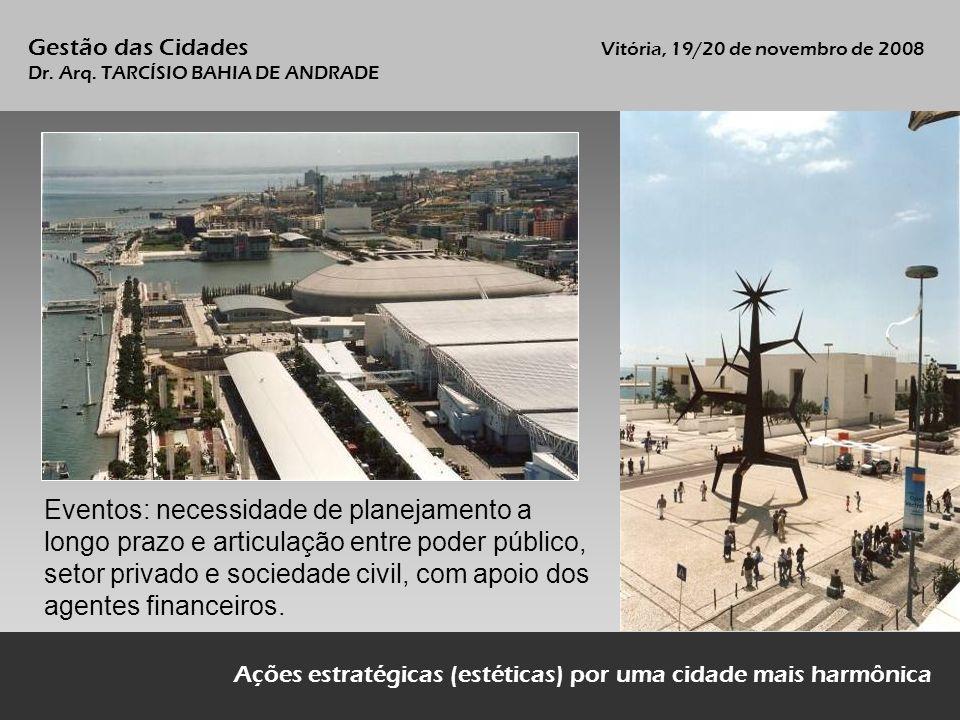 Gestão das Cidades Vitória, 19/20 de novembro de 2008 Dr. Arq. TARCÍSIO BAHIA DE ANDRADE Ações estratégicas (estéticas) por uma cidade mais harmônica