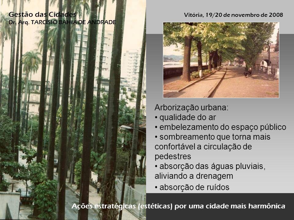 Arborização urbana: qualidade do ar embelezamento do espaço público sombreamento que torna mais confortável a circulação de pedestres absorção das águ