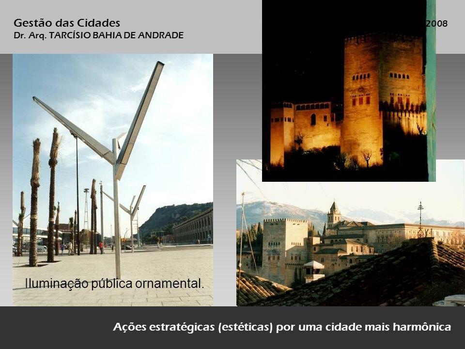 Ações estratégicas (estéticas) por uma cidade mais harmônica Iluminação pública ornamental. Gestão das Cidades Vitória, 19/20 de novembro de 2008 Dr.