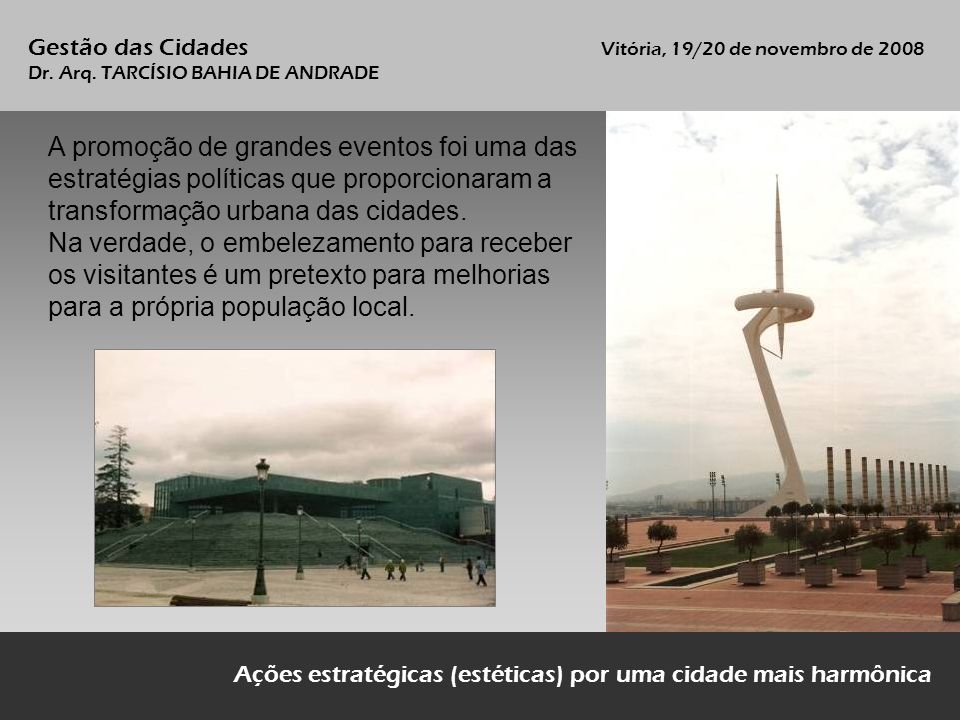 Gestão das Cidades Vitória, 19/20 de novembro de 2008 Dr.