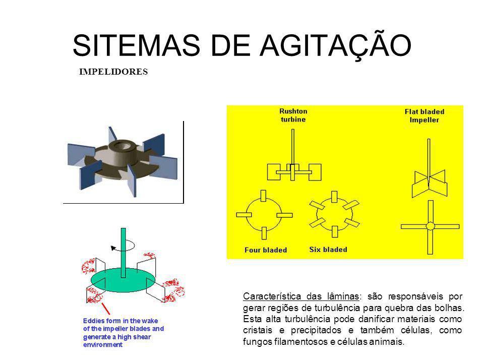 SITEMAS DE AGITAÇÃO IMPELIDORES Característica das lâminas: são responsáveis por gerar regiões de turbulência para quebra das bolhas.