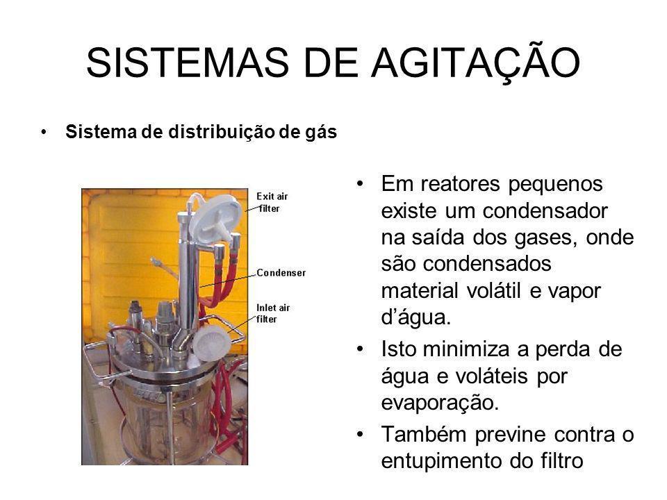 SISTEMAS DE AGITAÇÃO Sistema de distribuição de gás Em reatores pequenos existe um condensador na saída dos gases, onde são condensados material volátil e vapor dágua.