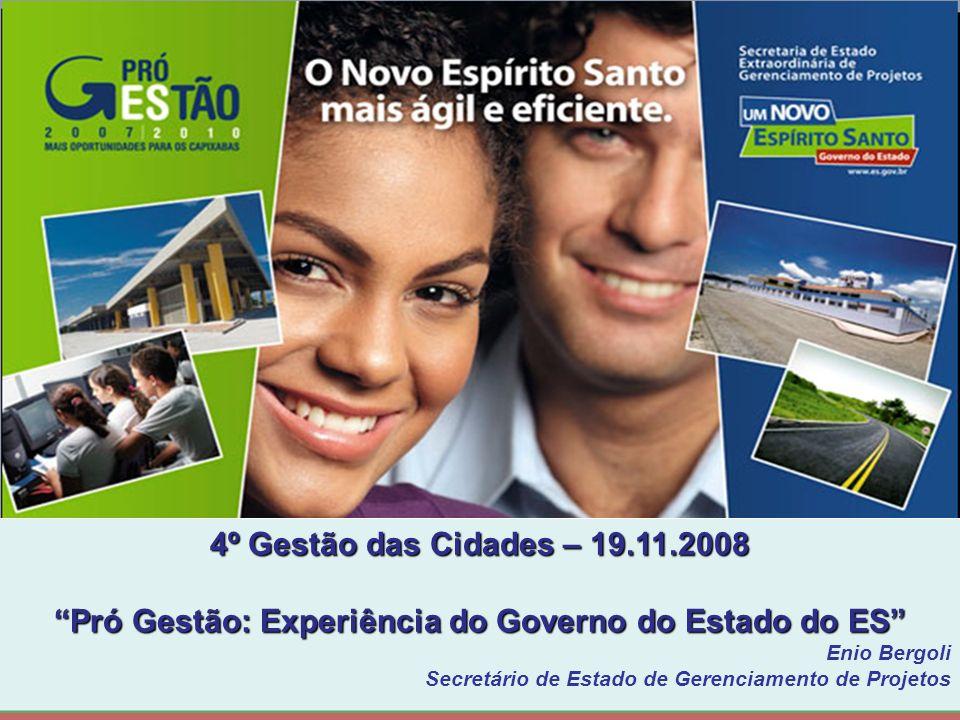 4º Gestão das Cidades – 19.11.2008 Pró Gestão: Experiência do Governo do Estado do ES Enio Bergoli Secretário de Estado de Gerenciamento de Projetos