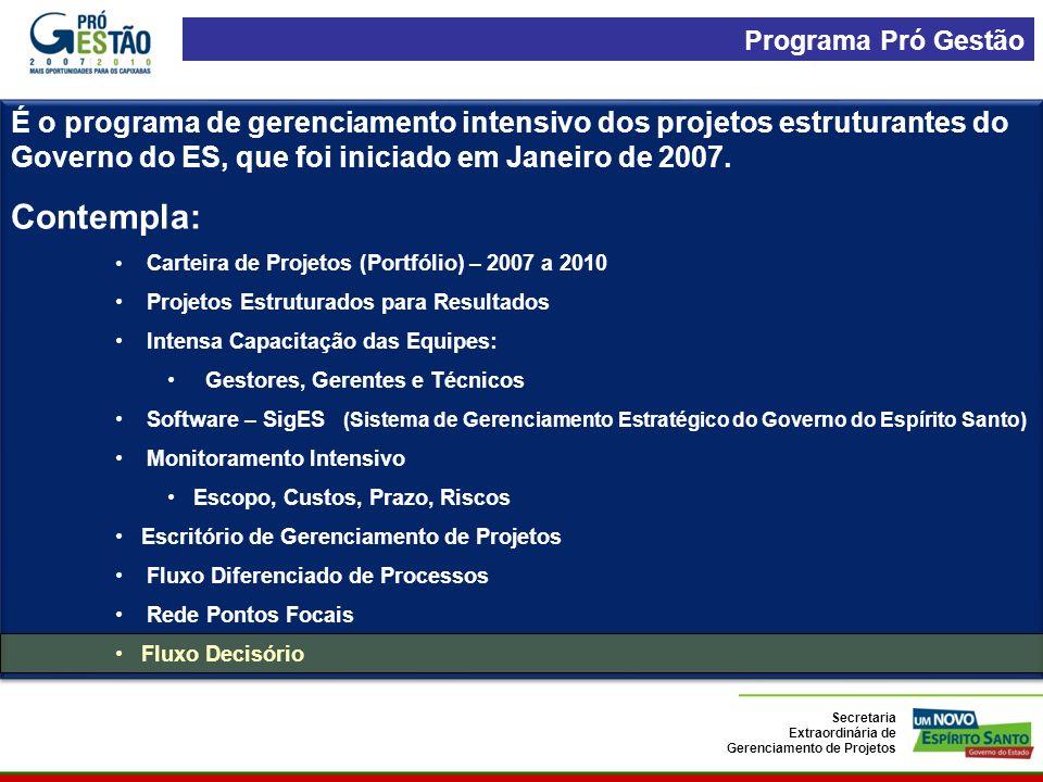 É o programa de gerenciamento intensivo dos projetos estruturantes do Governo do ES, que foi iniciado em Janeiro de 2007.