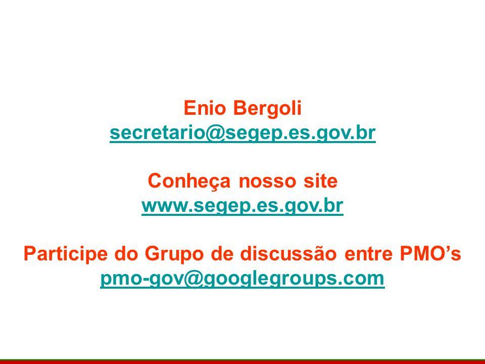Contatos Enio Bergoli secretario@segep.es.gov.br Conheça nosso site www.segep.es.gov.br Participe do Grupo de discussão entre PMOs pmo-gov@googlegroups.com