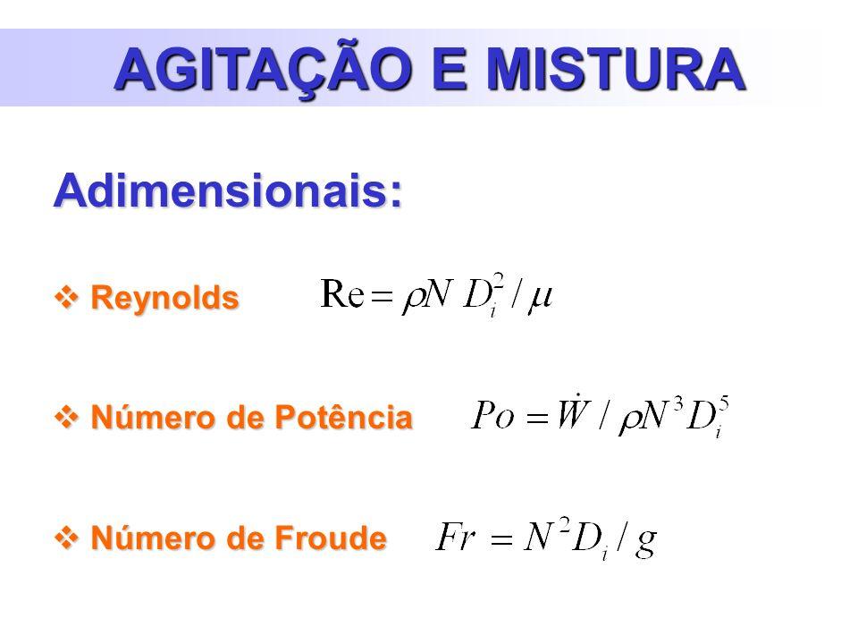 Reynolds Reynolds Número de Potência Número de Potência Número de Froude Número de Froude AGITAÇÃO E MISTURA Adimensionais: