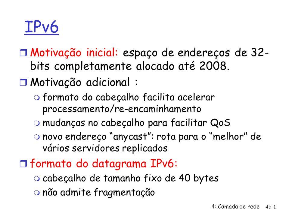 4: Camada de rede4b-1 IPv6 Motivação inicial: espaço de endereços de 32- bits completamente alocado até 2008.