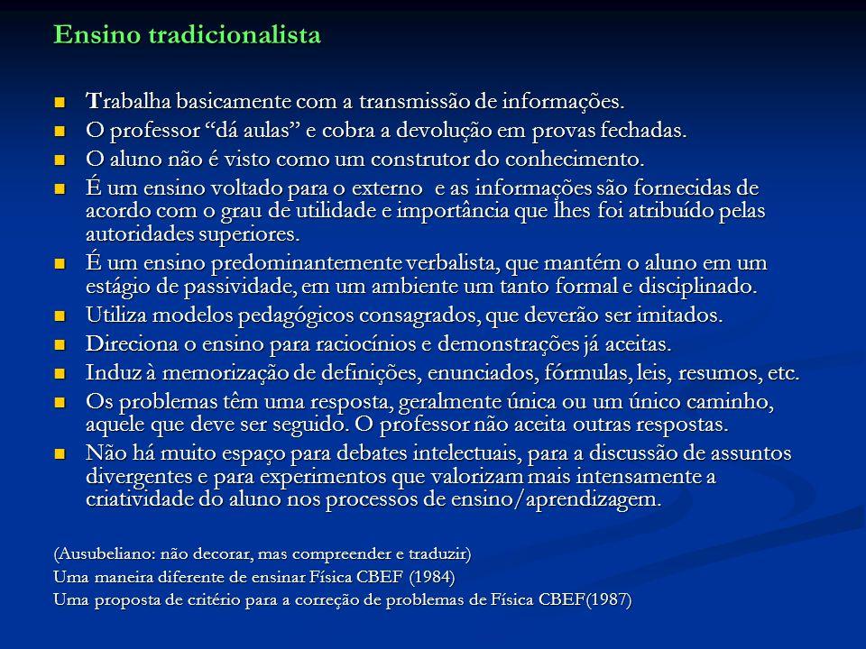 Ensino tradicionalista Trabalha basicamente com a transmissão de informações. Trabalha basicamente com a transmissão de informações. O professor dá au