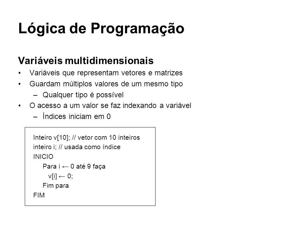 Lógica de Programação Variáveis multidimensionais Variáveis que representam vetores e matrizes Guardam múltiplos valores de um mesmo tipo –Qualquer ti