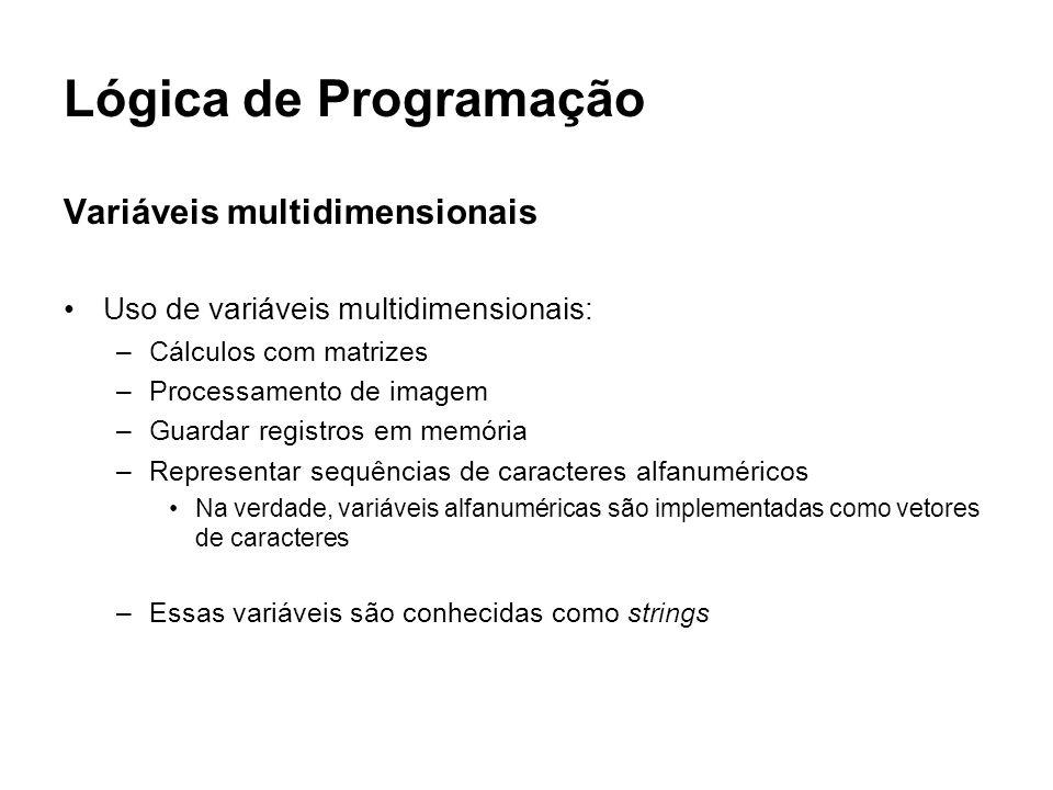 Lógica de Programação Variáveis multidimensionais Uso de variáveis multidimensionais: –Cálculos com matrizes –Processamento de imagem –Guardar registr