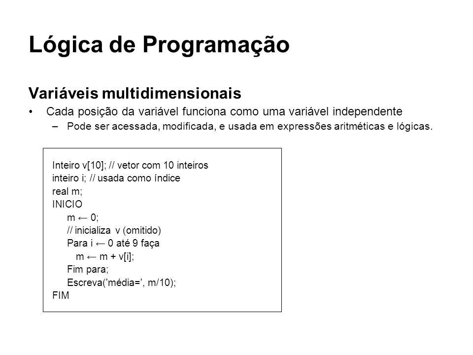 Lógica de Programação Variáveis multidimensionais Cada posição da variável funciona como uma variável independente –Pode ser acessada, modificada, e u