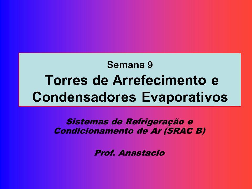 Semana 9 Torres de Arrefecimento e Condensadores Evaporativos Sistemas de Refrigeração e Condicionamento de Ar (SRAC B) Prof. Anastacio
