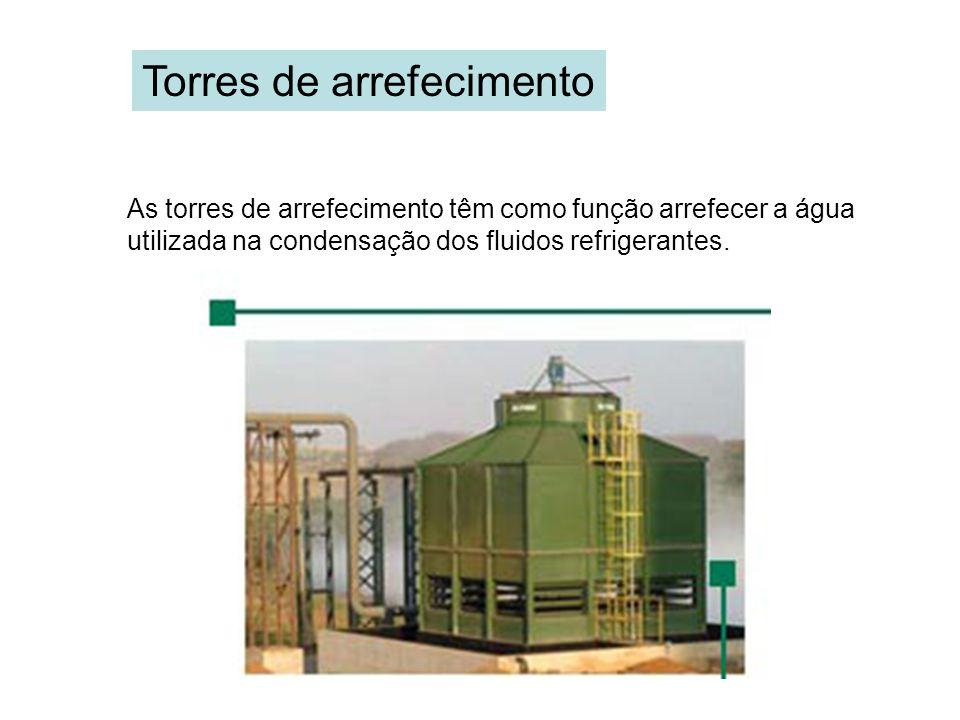 Torres de arrefecimento As torres de arrefecimento têm como função arrefecer a água utilizada na condensação dos fluidos refrigerantes.
